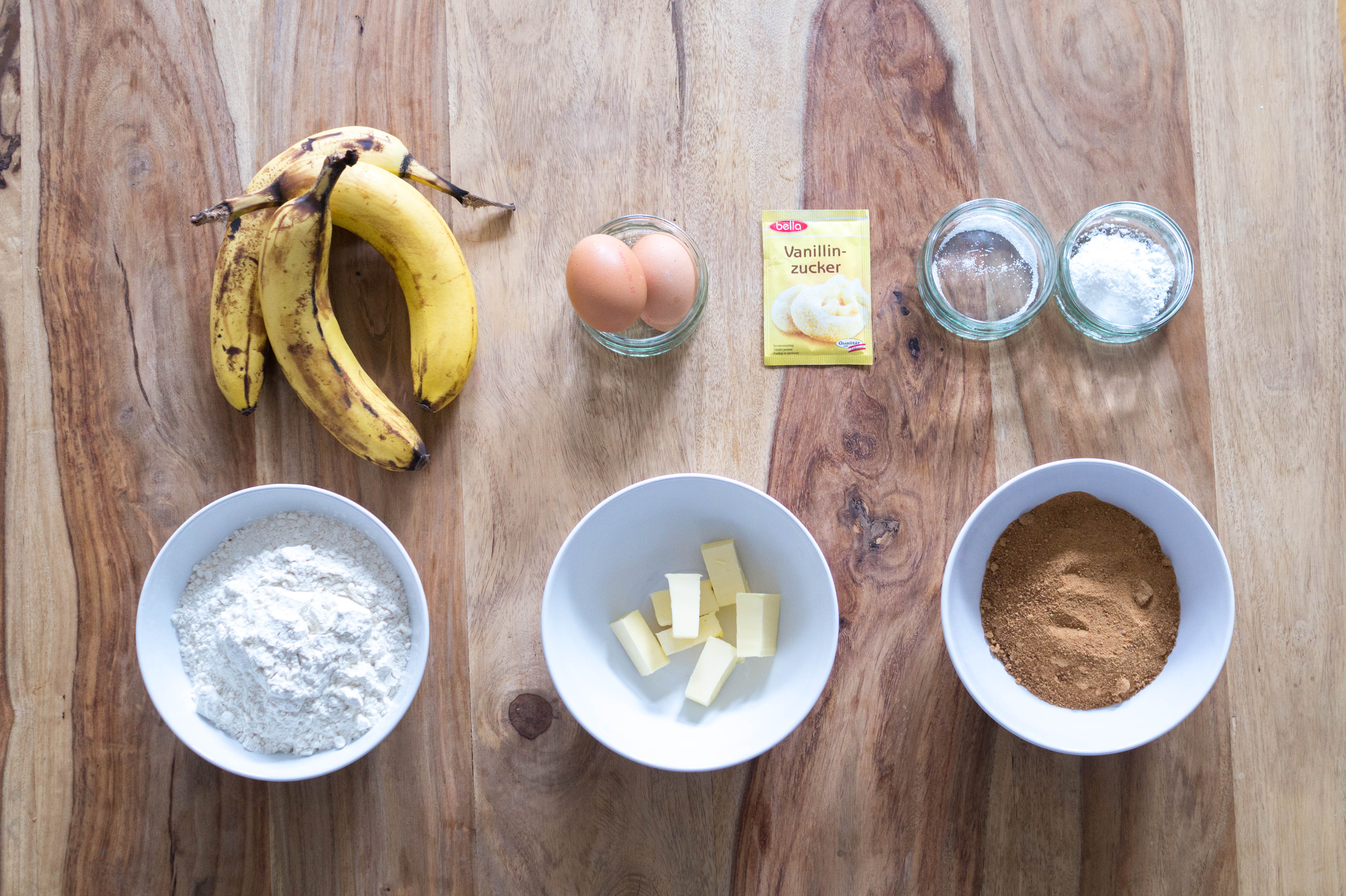ingredients banana bread baking