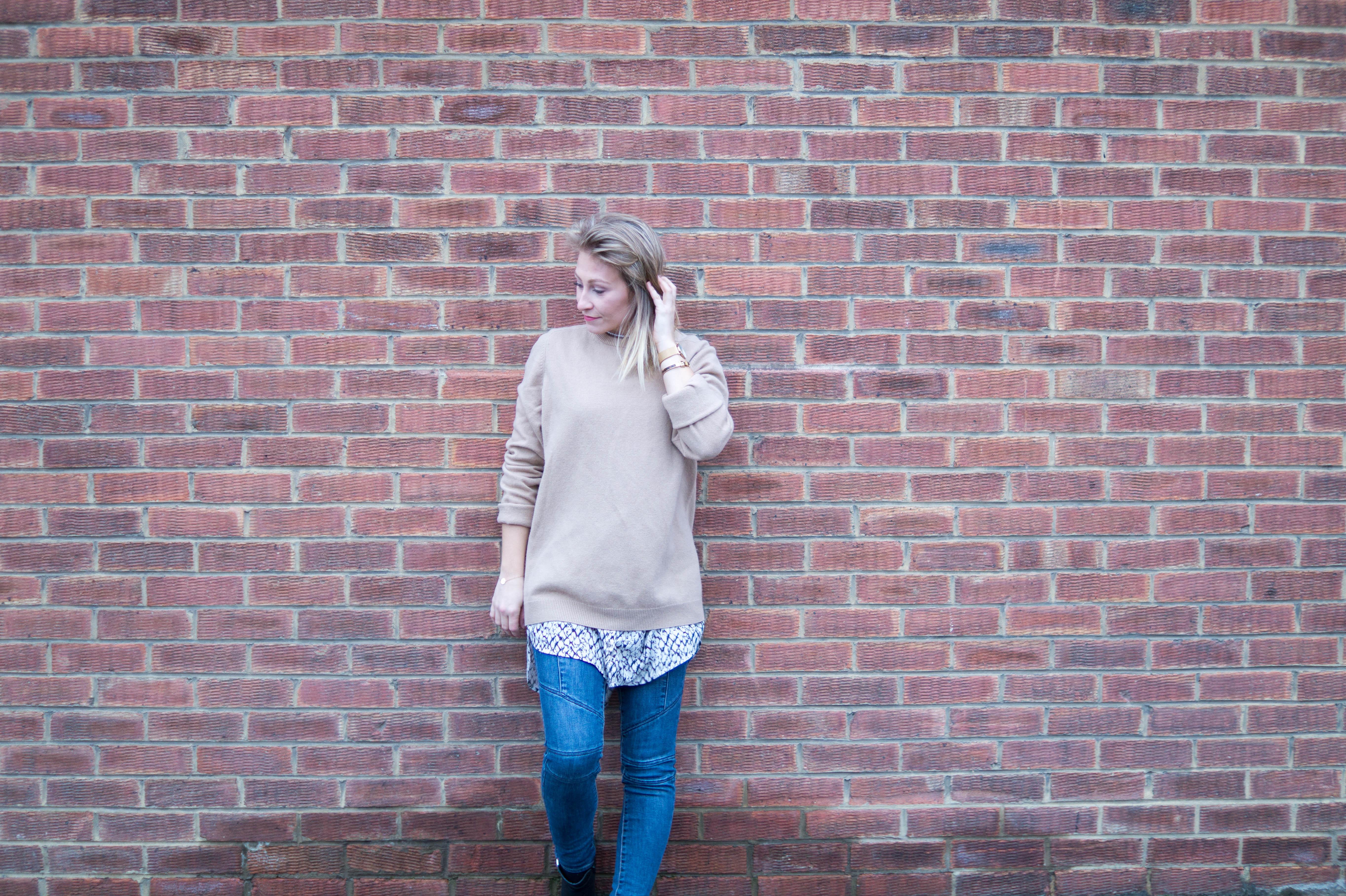 brick walls outfit post primetime chaos camel knit fashion