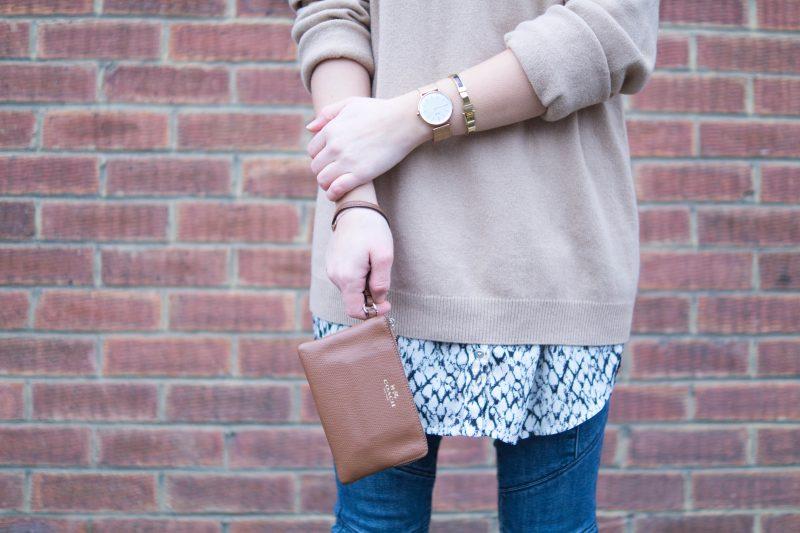 London Outfit: Brick Walls, Camel Knit & Cream Coat