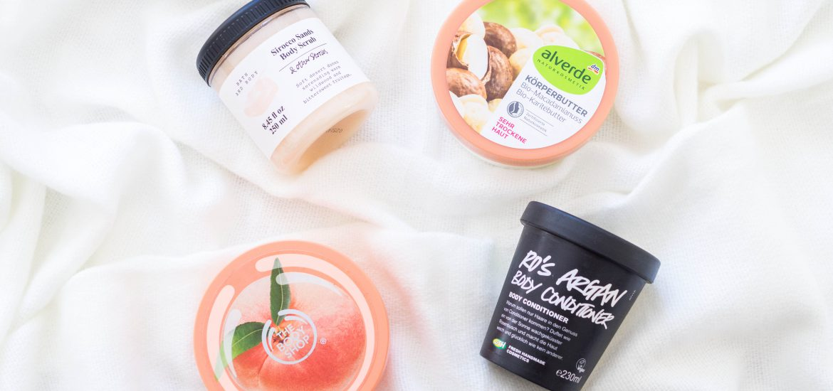 body care flatlay lush the body shop alverde and other stories