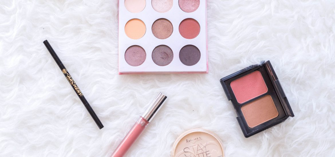 favourites flatlay beauty products makeup