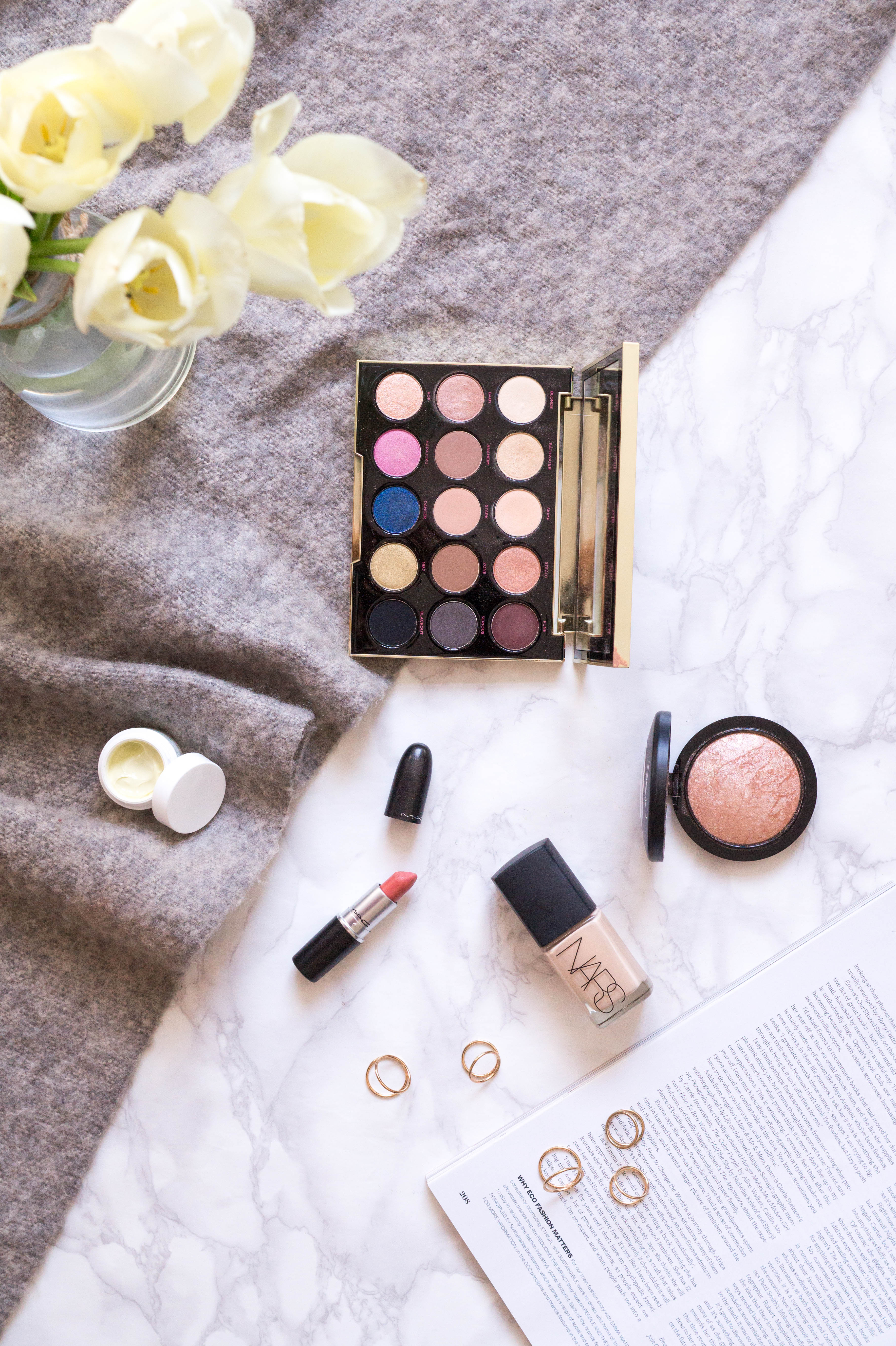monthly favourites flatlay beauty makeup primetime chaos best products