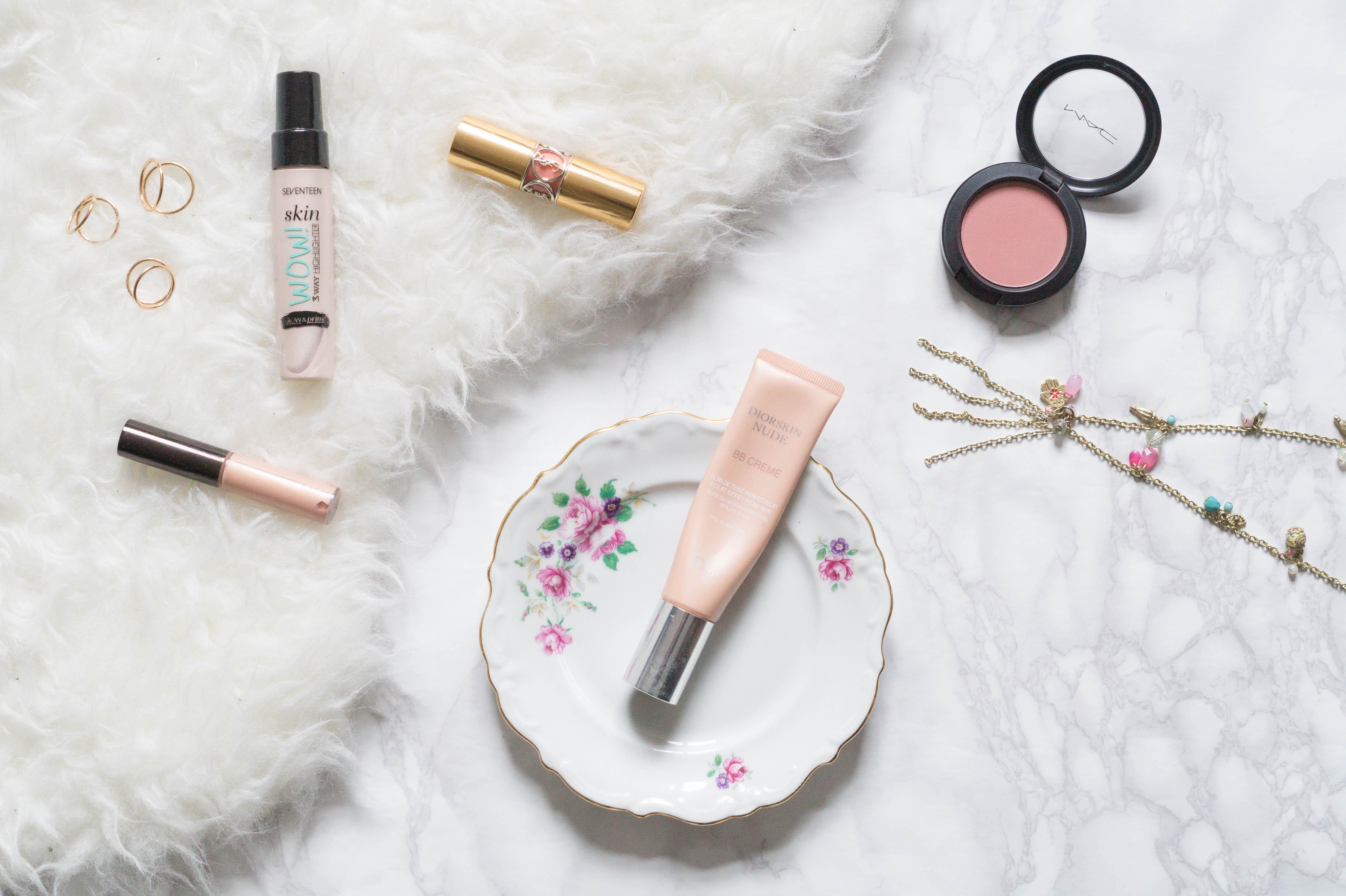 beauty favourites april flatlay makeup dior mac cosmetics ysl beauty becca shimmering skin perfector