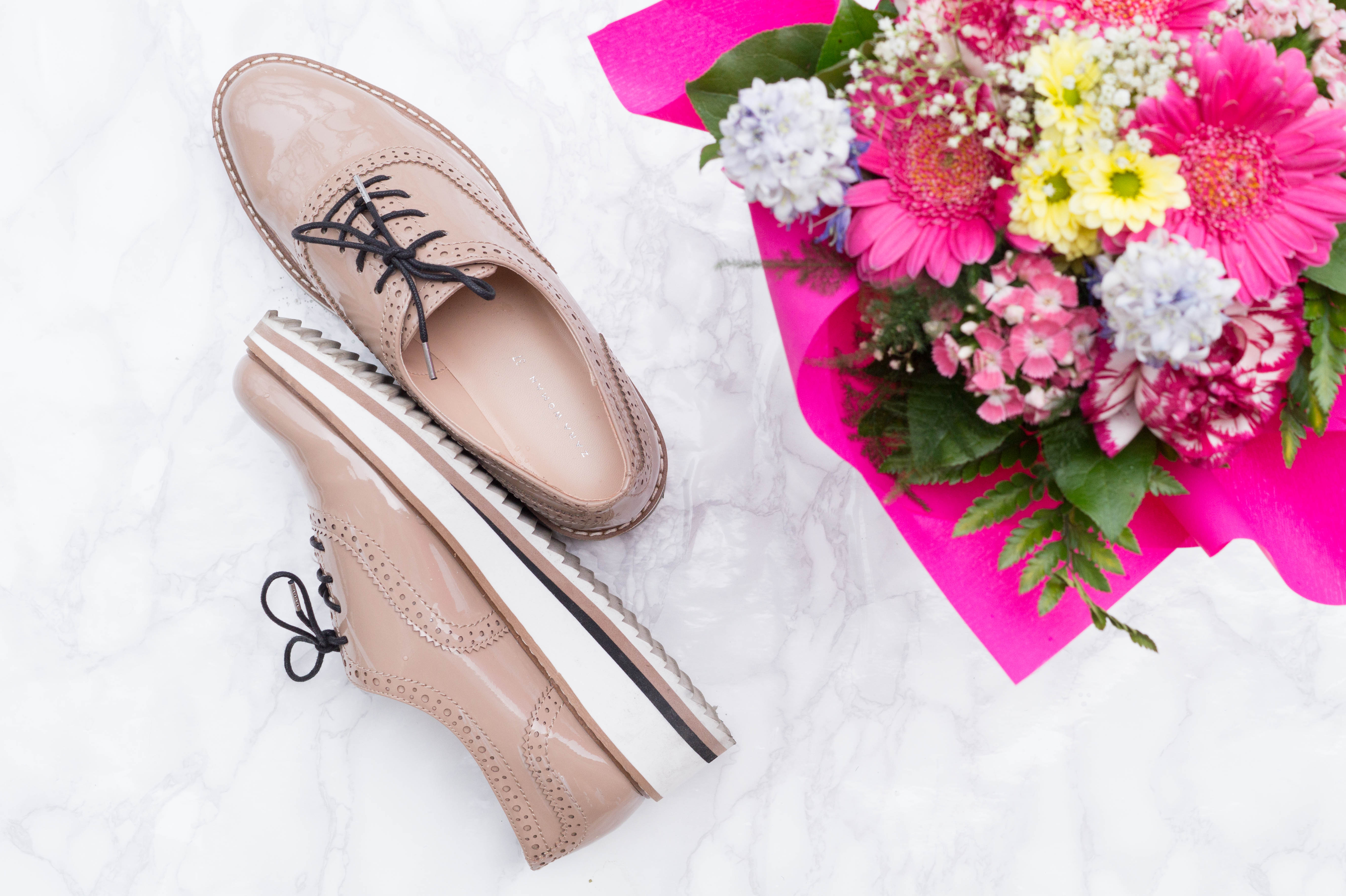 flatlay primetime chaos monthly favorites nude brogues zara shoes flowers