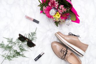 flatlay primetime chaos favourite products monthly favorites faves shoes flowers makeup rayban sunglasses