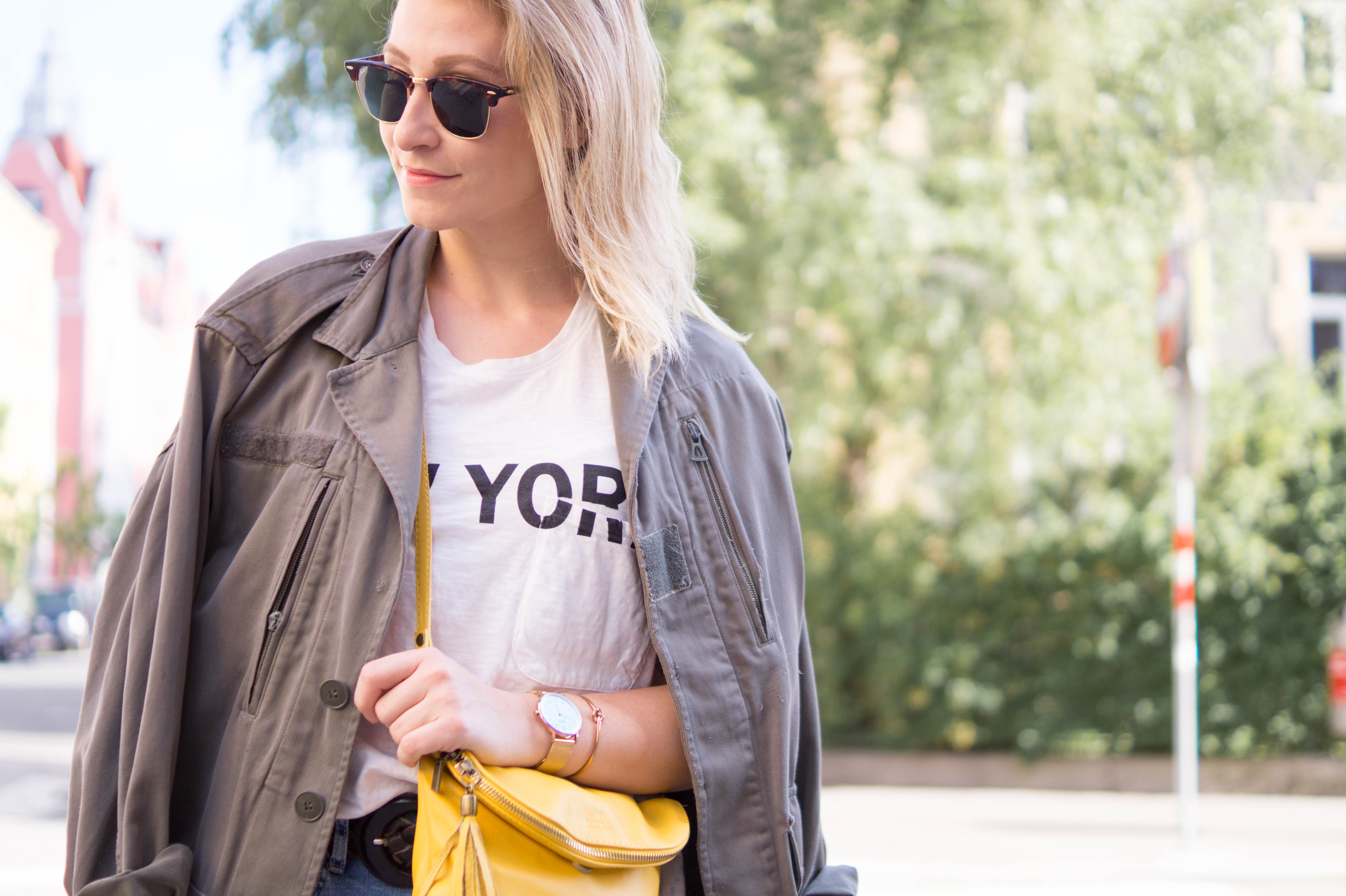 summer outfit espadrilles army jacket yellow bag fashion