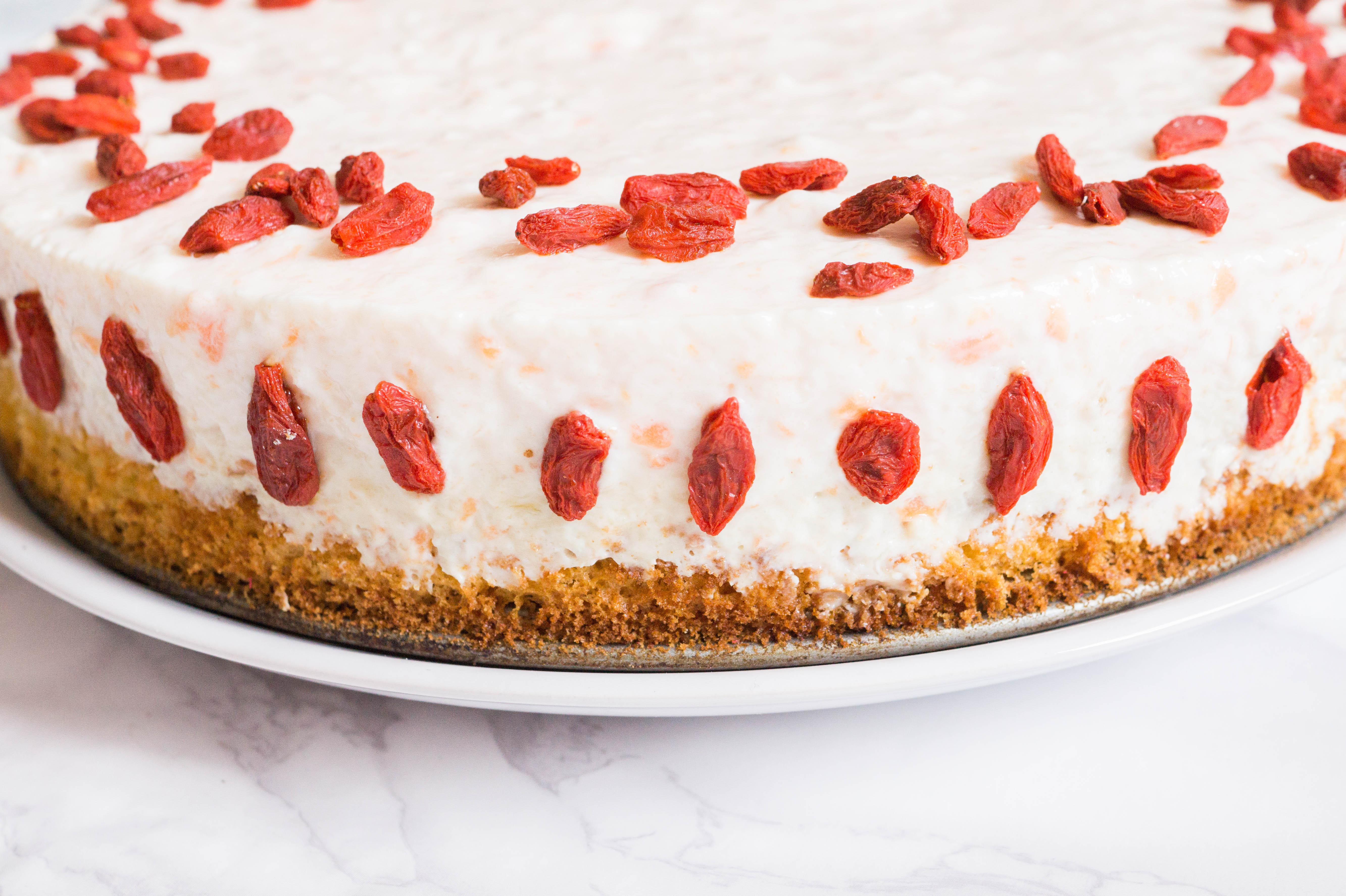 flatlay papaya goji cake baking baker
