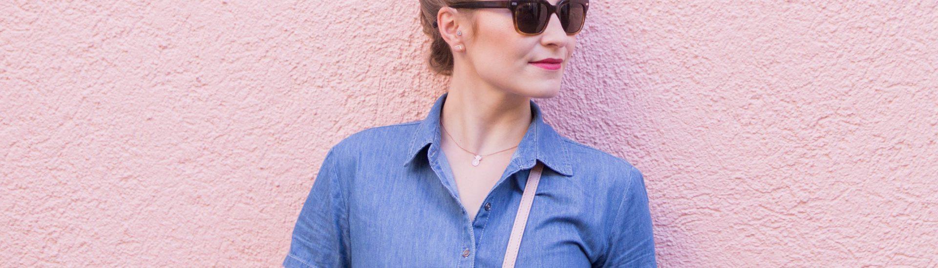 denim dress outfit fall fashion autumn fashion blog blogger millenial pink
