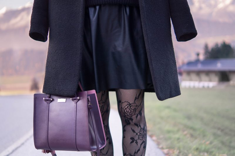 All Black Outfit: Pleather Skirt, Fishnet Tights & Knit