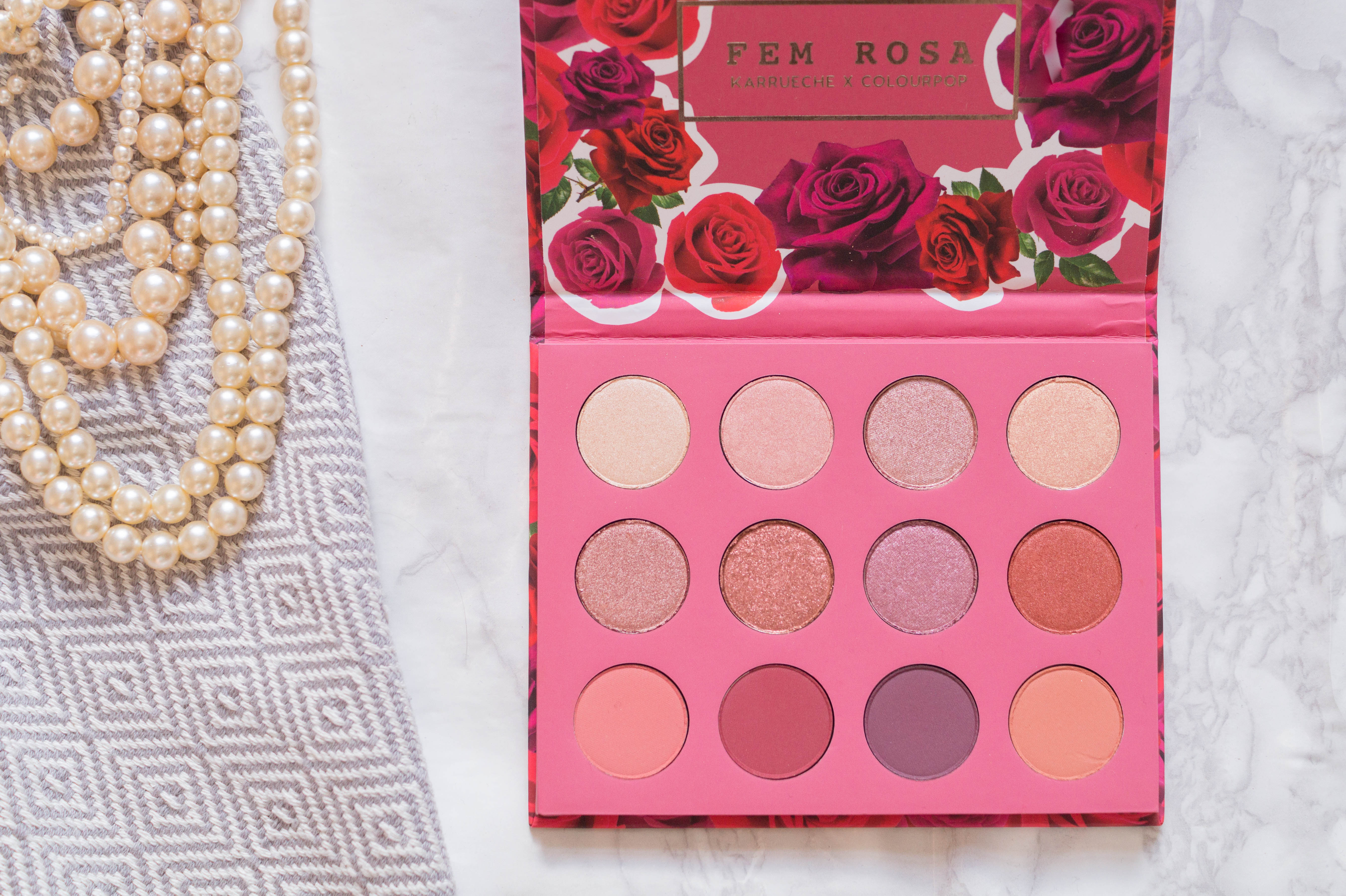 colourpop haul review swatches flatlay colourpop eyeshadows fem rosa she palette