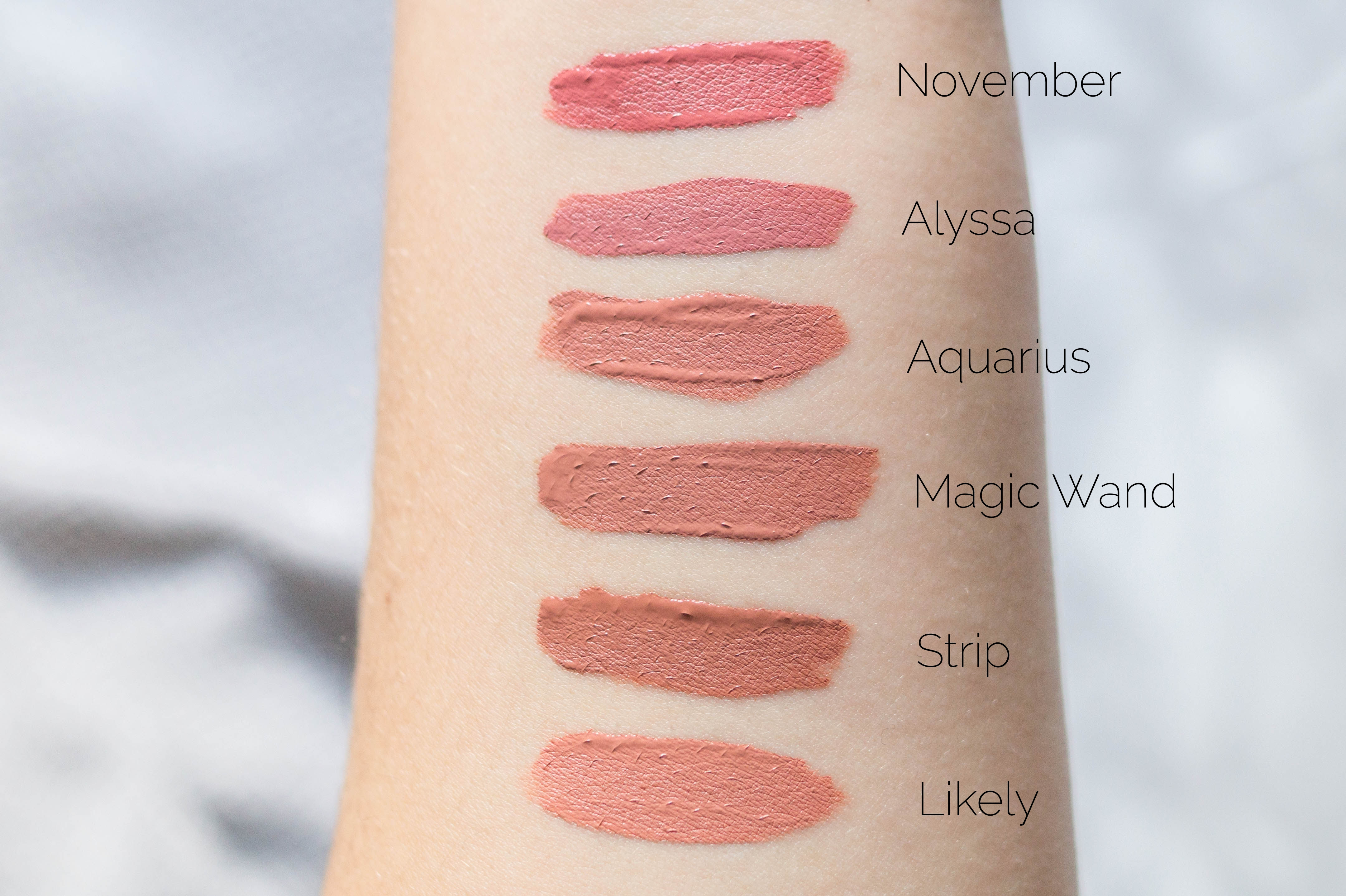 colourpop haul review swatches flatlay colourpop ultra satin liquid lipsticks