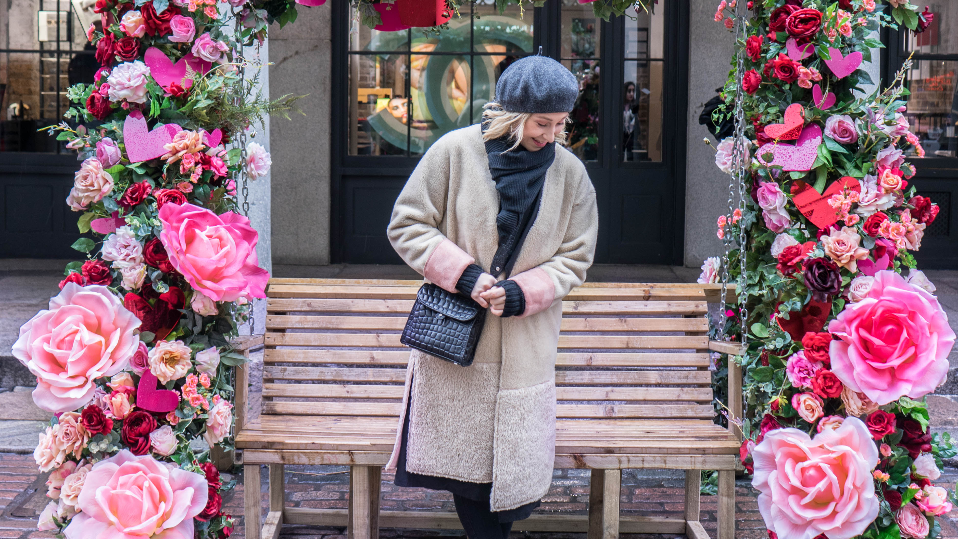 Outfit Teddy Coat Beret Velvet Boots Three Things to Do in Covent Garden