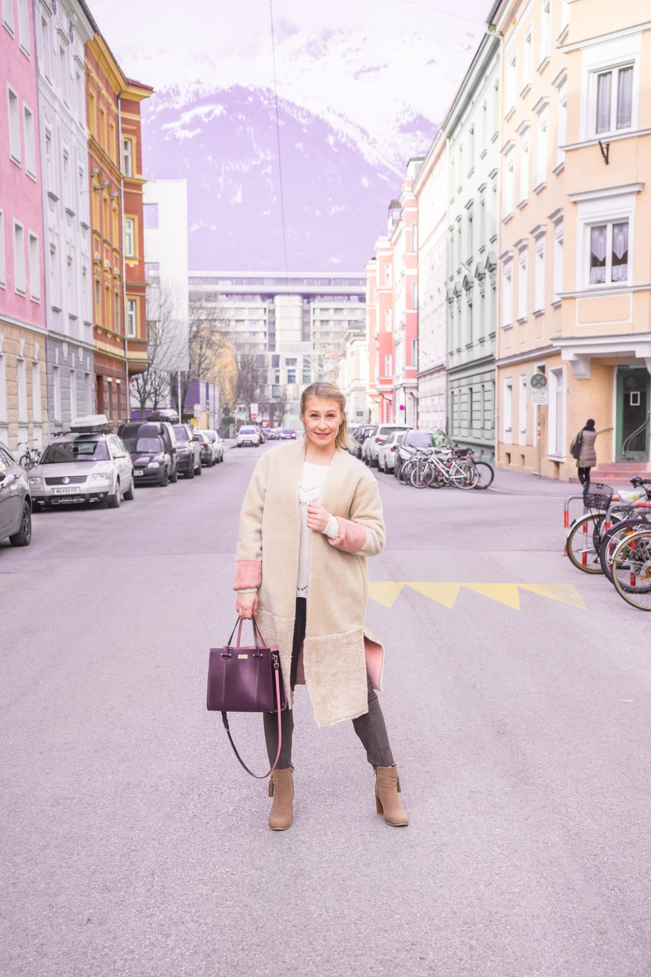 Outfit: Teddy Coat, Neutral Tones and A Pop of Rosé